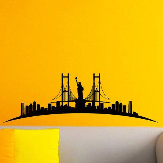 New York Skyline City Silhouette Wall Vinyl Decal Sticker Home Decor ...
