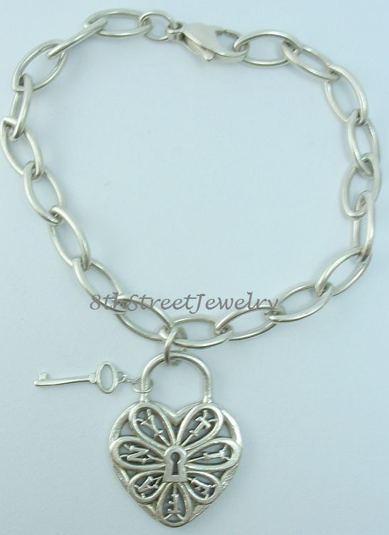 RETIRED Tiffany & Co Filigree Heart Tag Bracelet with Key in Sterling  Silver 925
