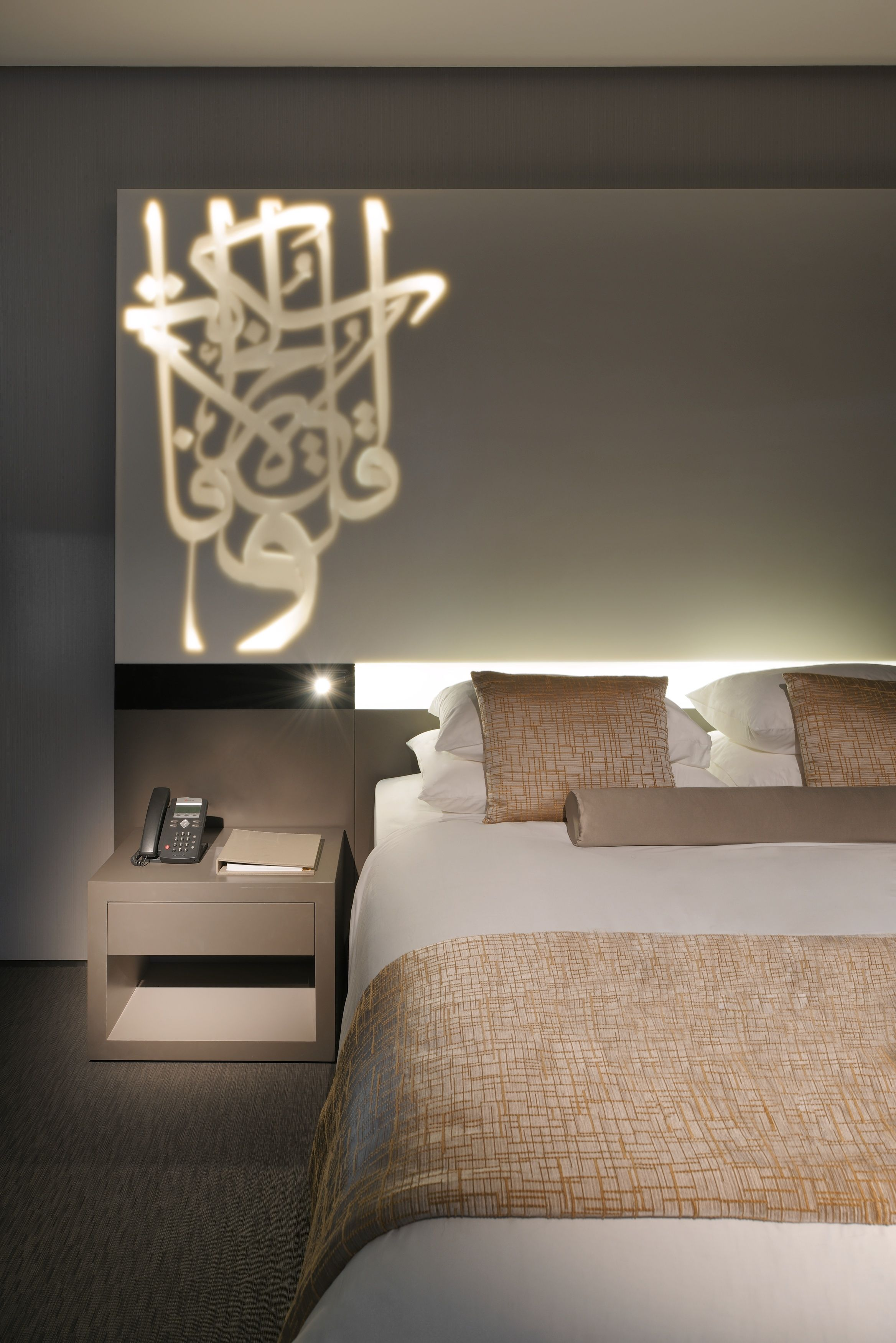 Arabic calligraphy design on solid surface board for Arabic bedroom ideas