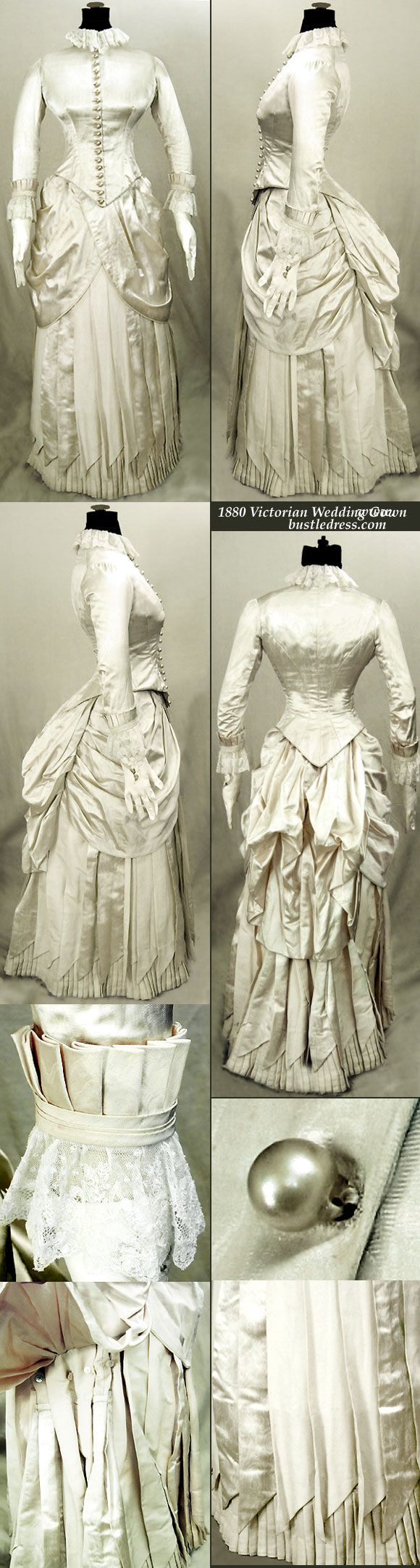 1880 victorian wedding gown of silk with french lace for Victorian bustle wedding dress