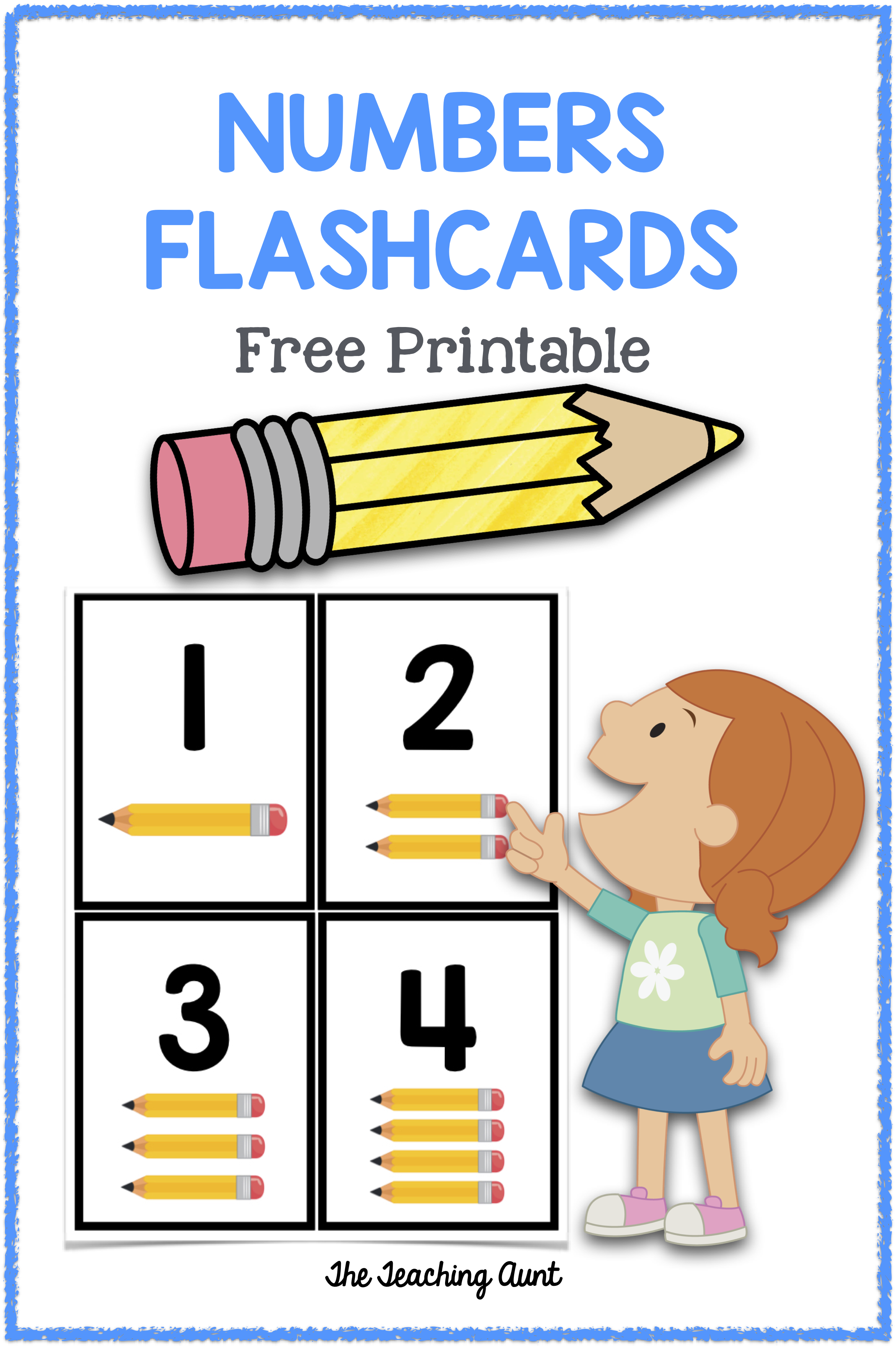Numbers Flashcards Pencil Counters