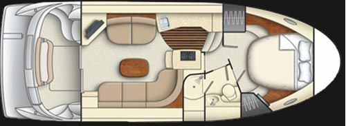 Meridian Yachts 341 Sedan: The layout of the Meridian 341 is unusual in several respects: pretty much the whole main cabin is the salon, the galley is down a step on the way to the accommodations below, and the guest cabin is a mid cabin with twin berths going for and aft.