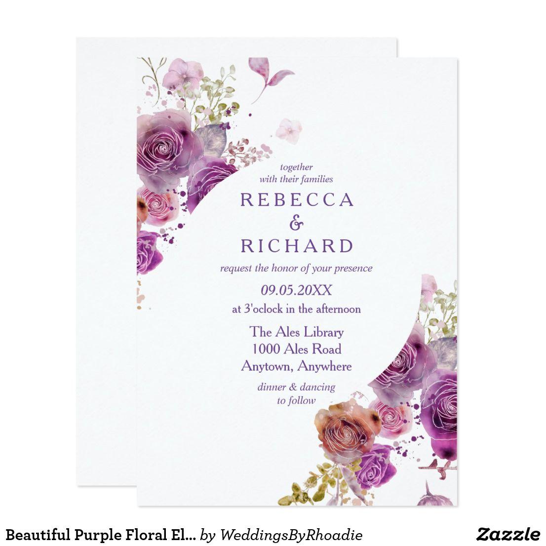 Purple Wedding Ideas With Pretty Details: Beautiful Purple Floral Elegance Wedding Invitation
