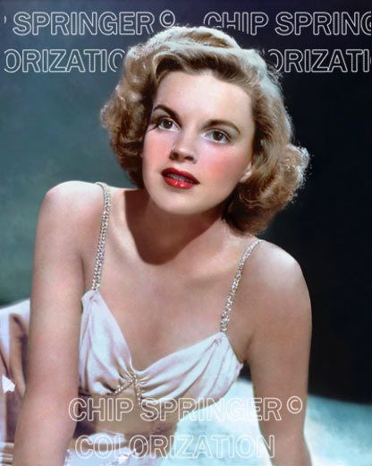 JUDY GARLAND Wearing a Diamond Strap Gown | 8x10 COLOR Photo by CHIP SPRINGER. Featured Ebay Listing. Please visit my Ebay Store, Legends of the Silver Screen, at http://legendsofthesilverscreen.com to see the current listings of your favorite Stars now in glorious color! Thanks for looking and check out my Youtube videos at https://www.youtube.com/channel/UCyX926rA5x4seARq5WC8_0w