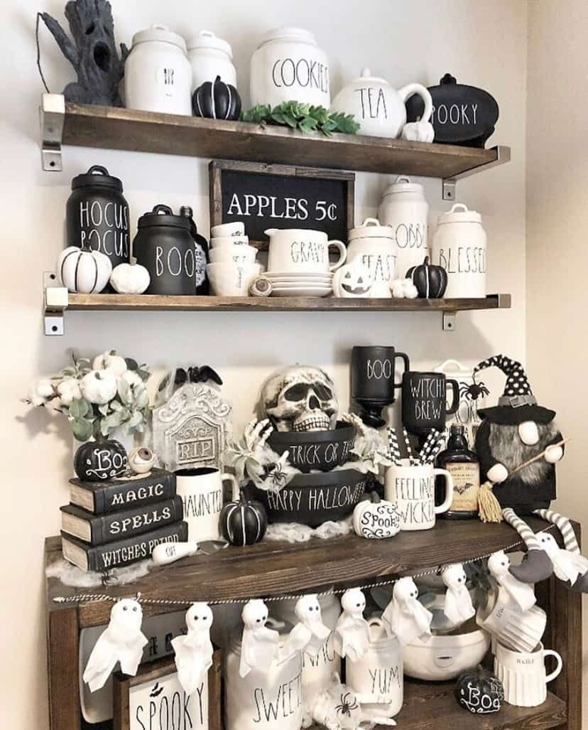 Best Rae Dunn Black And White Halloween Decoration Ideas In My Right Mind Designs Chic Halloween Halloween Home Decor Halloween Decorations Indoor