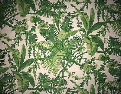 BENNISON-FABRICS-Waikiki-Green-Palm-Trees-Frond-Linen-Cotton-Large-Remnant-New