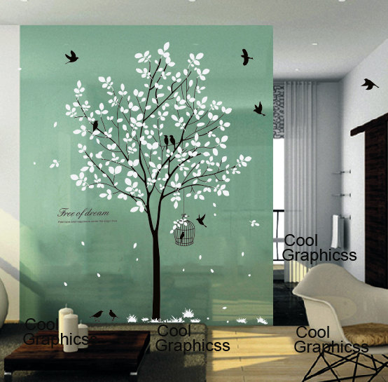 Wall Decal Tree Wall Sticker Office Wall Decal Nursery Bedroom Wall Decor  Home Decor Wall Hanging   Tree With Birds And Cage