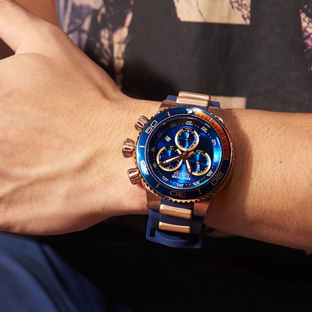 Reef Tiger/RT Top Brand Luxury Blue Sport Watch for Men