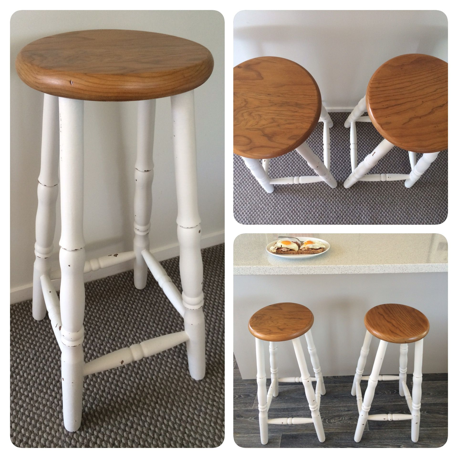 Vintage Bar Stools Shabby Chic With Varnished Seat