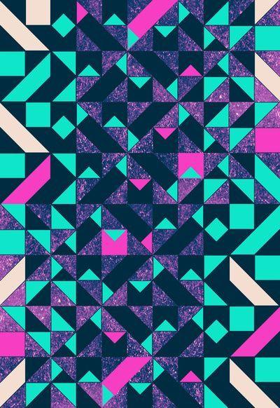 Bright Vibrant Fluro Colours Geometric Pattern Galaxy