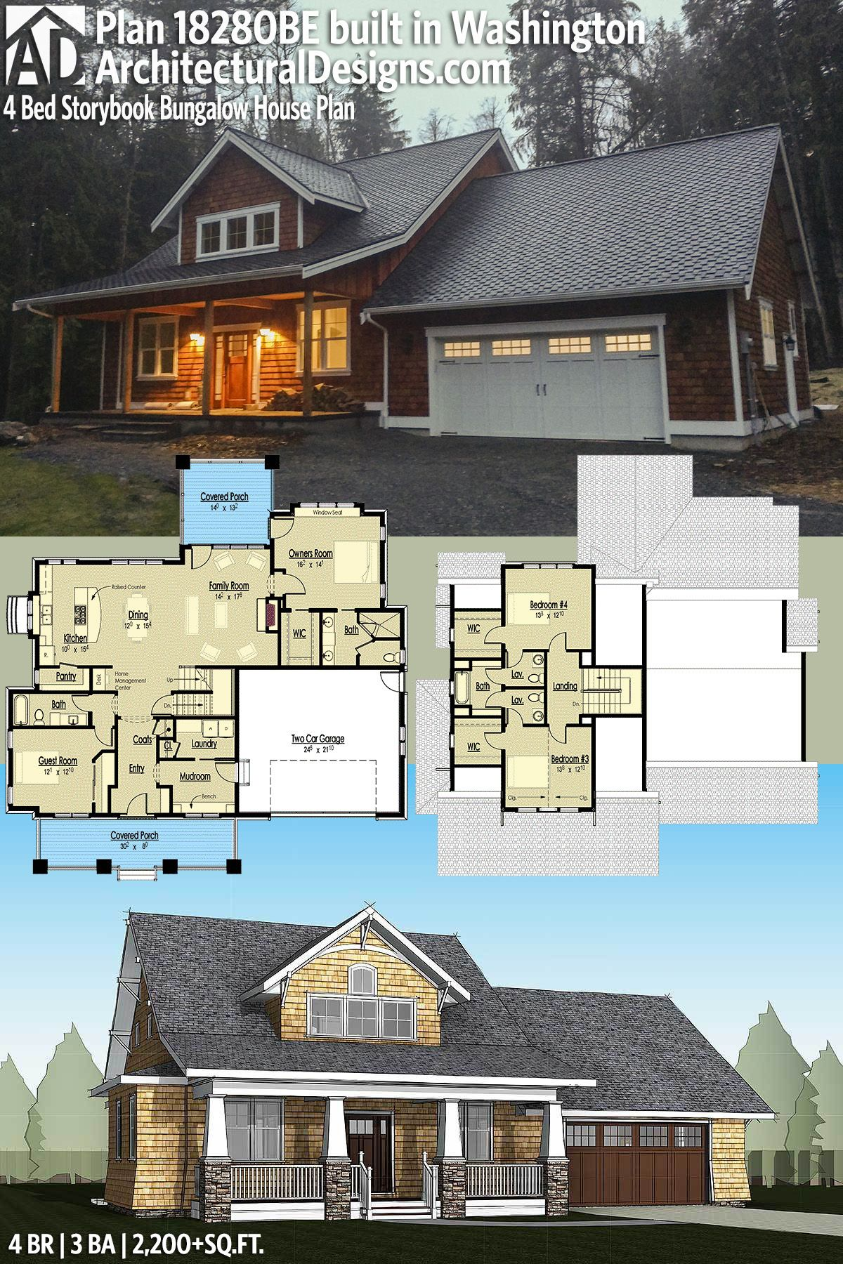 4 Bedroom Bungalow Design Unique Plan 18280Be 4 Bed Storybook Bungalow House Plan  Architectural Review