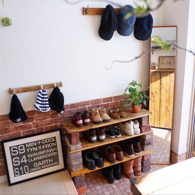 玄関/入り口/靴棚/玄関/狭いスペースを生かしたい/壁紙屋本舗