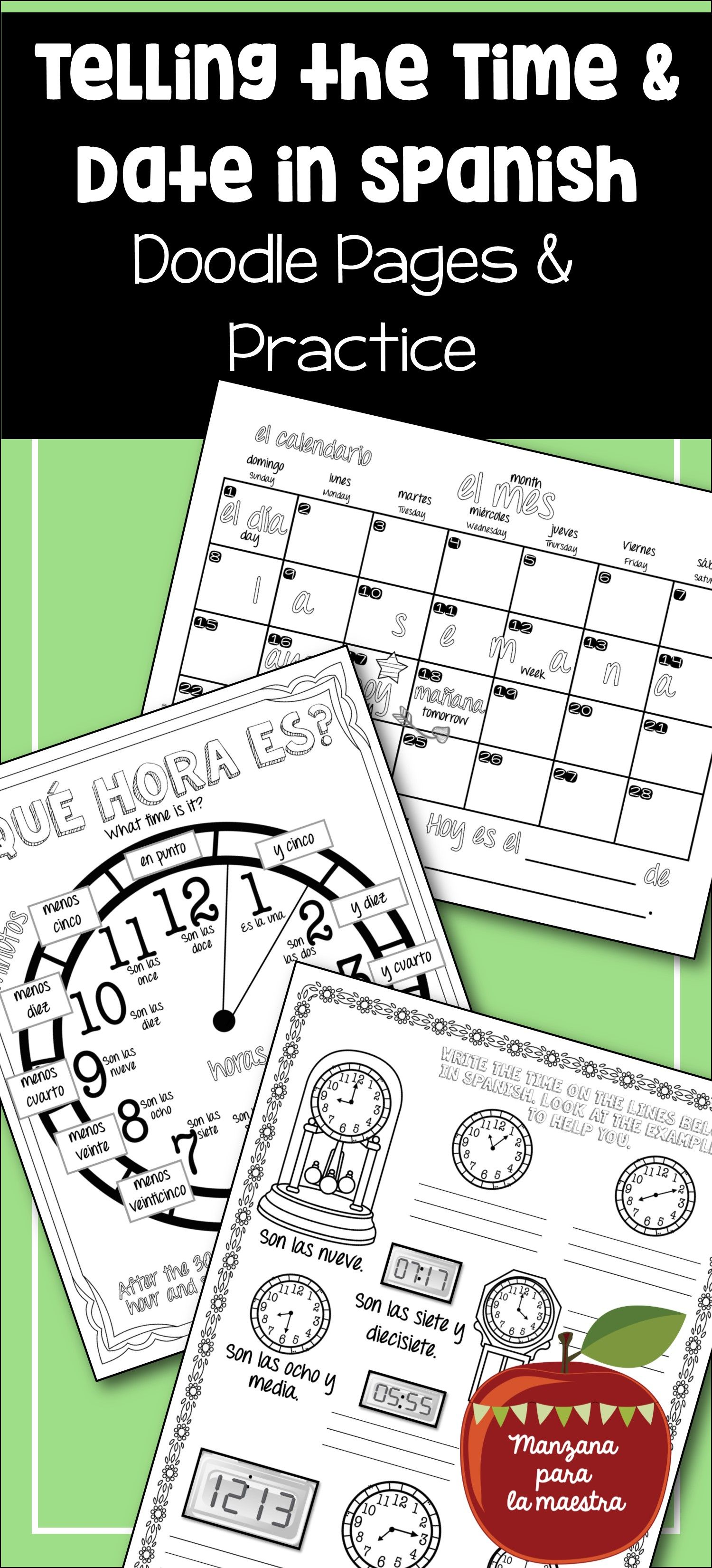 Telling Time And Date In Spanish Doodle Pages Worksheets And Notes Que Hora Es Doodle Pages Date In Spanish Learning Spanish [ 3300 x 1500 Pixel ]