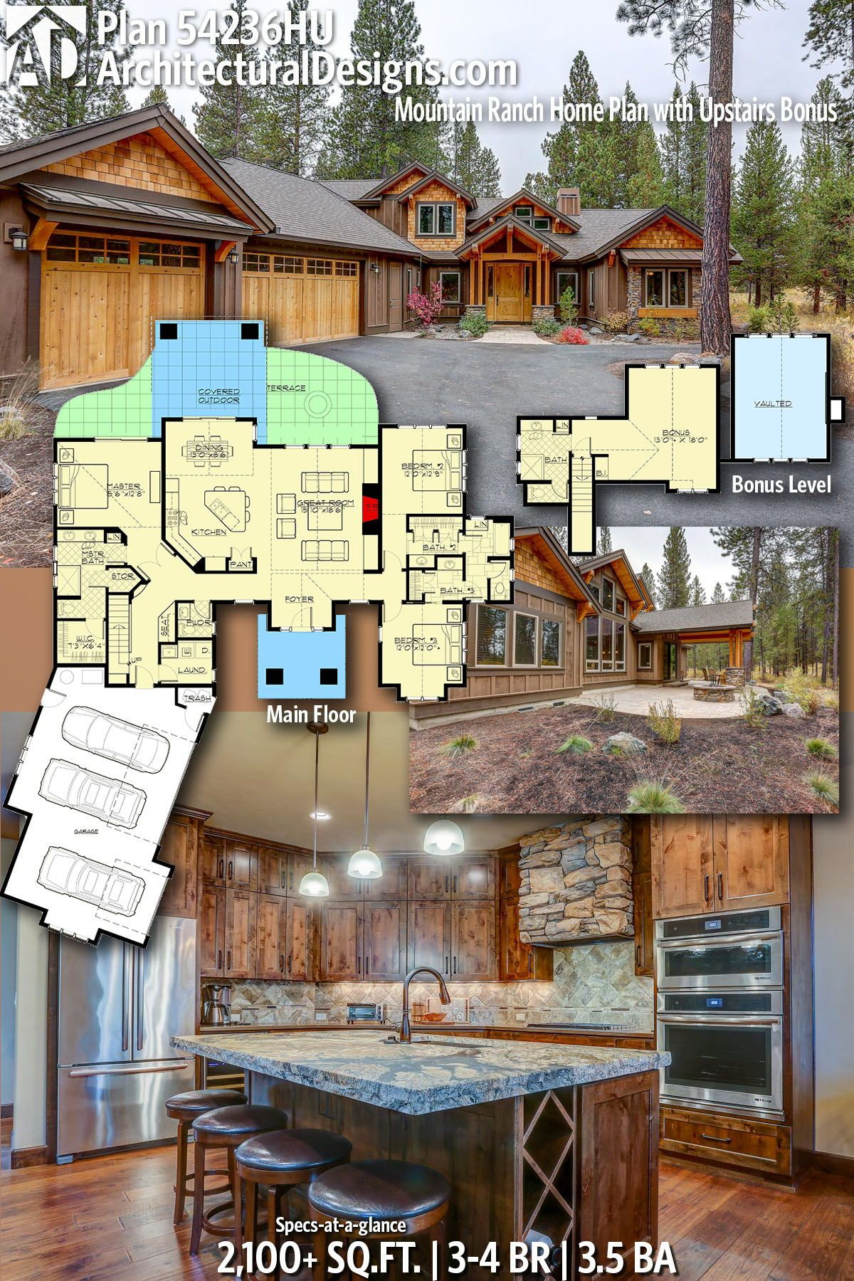Plan 54236hu Mountain Ranch Home Plan With Upstairs Bonus Rustic House Plans Ranch House Plans Mountain House Plans