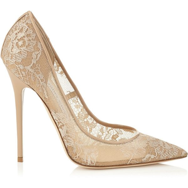 5e4c13dd1a9 Jimmy Choo ANOUK Nude Lace Pointy Toe Pumps ($750) ❤ liked on ...