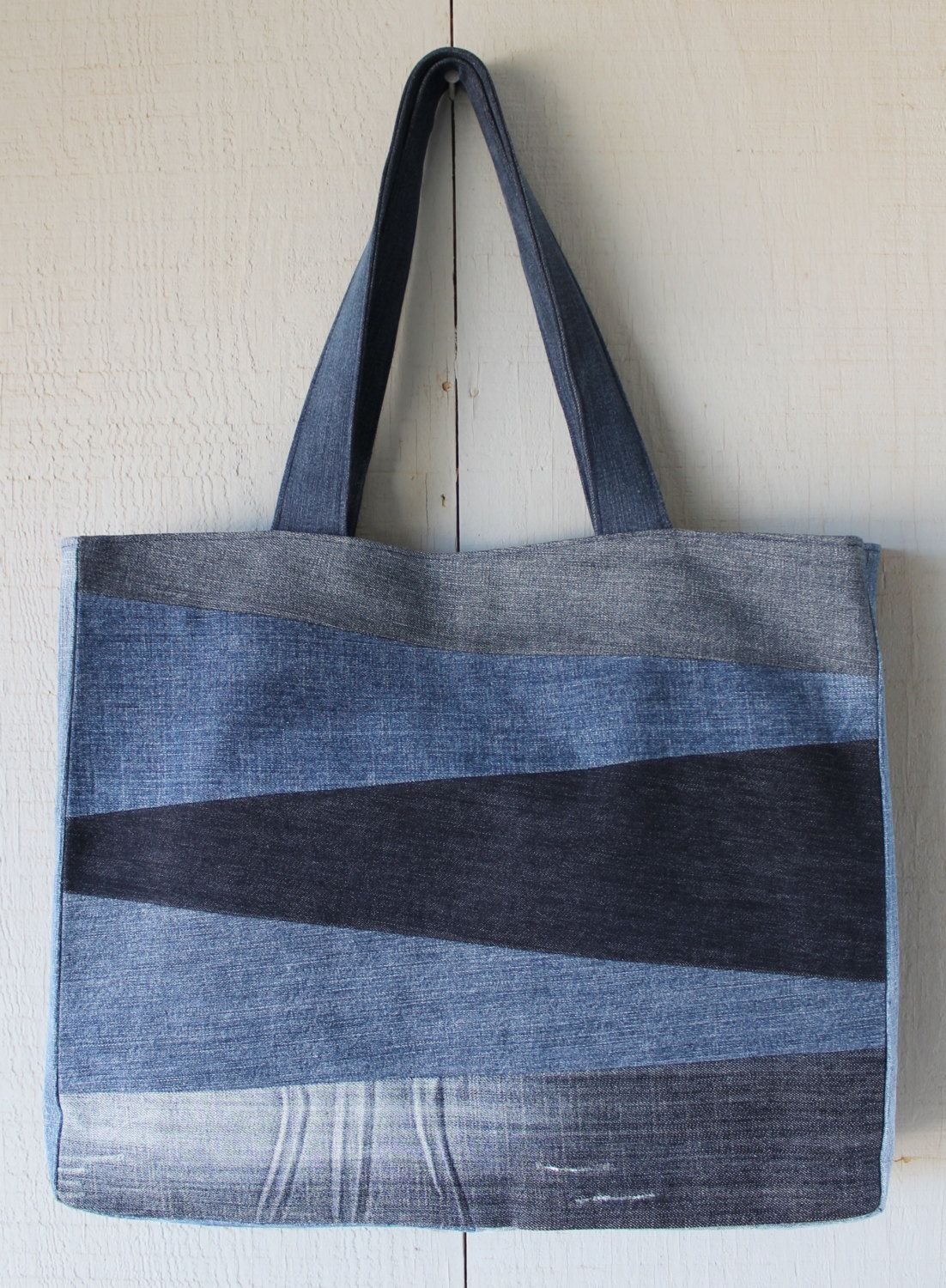 Patch Front Denim Tote Bag with Two Interior Pockets ...