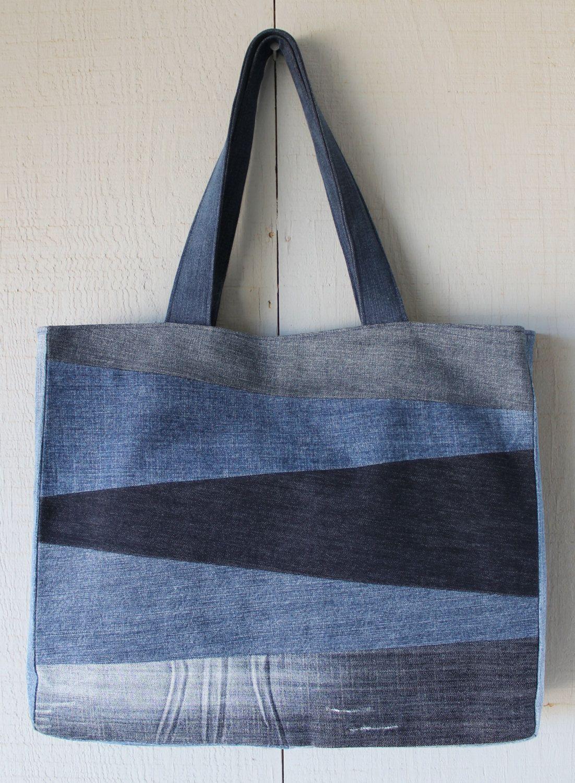 Handmade Multi Patch Denim Handbags Patchwork Denim Shoulder Bags Tote Bag