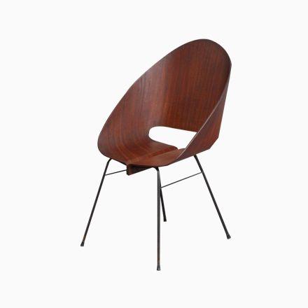 Stapelbarer Italienischer Stuhl Aus Modelliertem Sperrholz, 1950   Esszimmer  1950