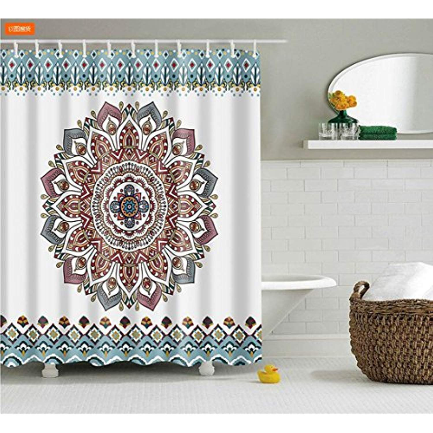 Isearex Mandala Bohemian Waterproof Shower Curtain Hippie Boho