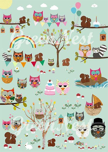 Neu A3 - Süßes Kinderzimmer Poster Eulen Park | Wohnaccessoires ...