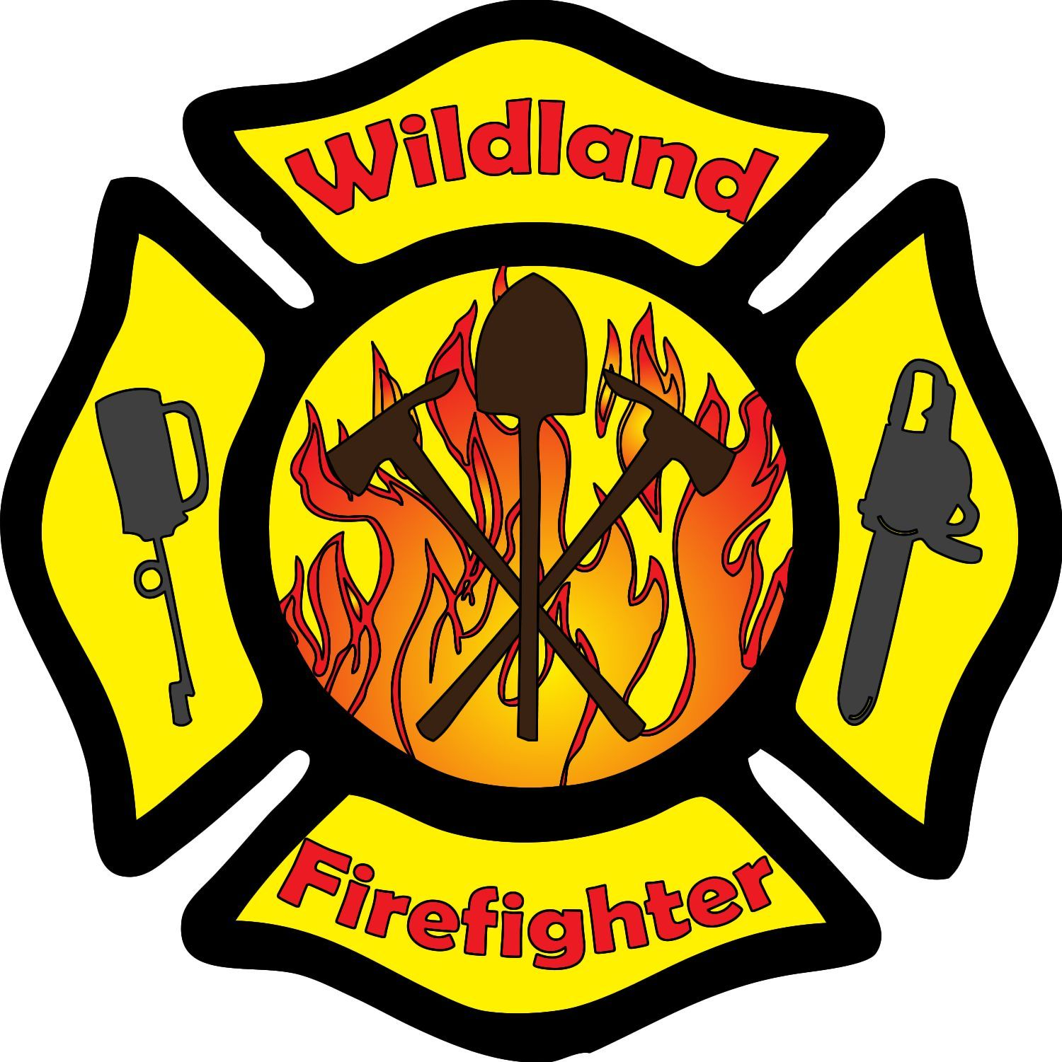 Wildland Firefighter Maltese Cross Tools Decal Feuerwehr