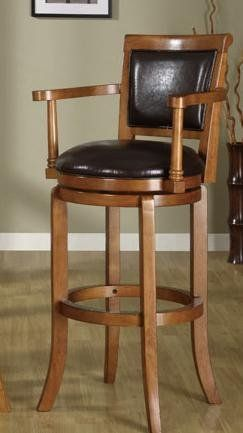 Sy Wooden Bar Stool With Arms And Upholstered Back Seat
