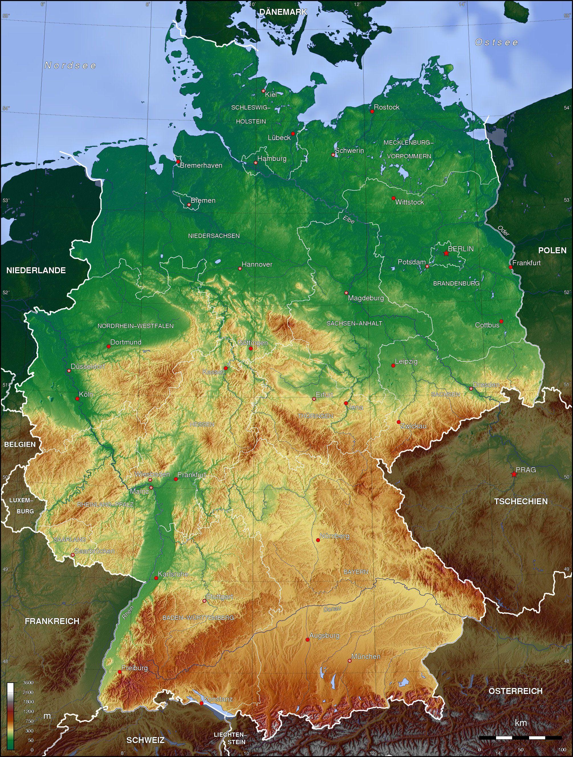 Topographic map, Germany weltkarte.com #map #germany #deutschland ...