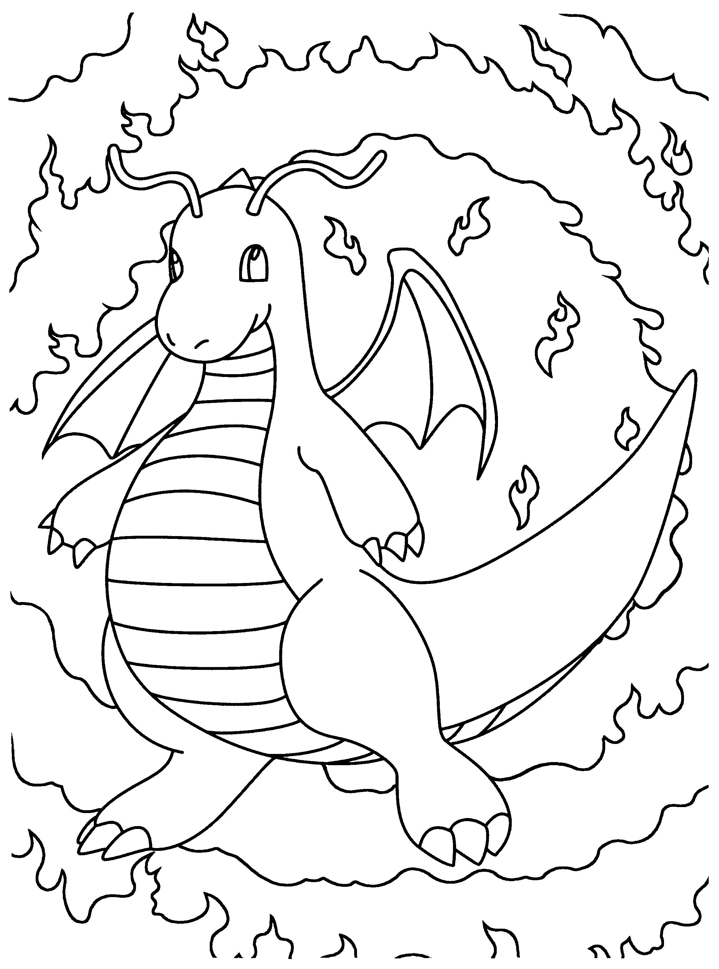 Kleurplaat Dragonite  Pokemon coloring pages, Pokemon coloring
