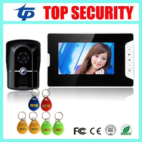 84.00$  Buy now - http://aliv1g.worldwells.pw/go.php?t=32755820504 - RFID card access control 7 inch video door phone system with RFID card reader 200 users wired door bell door video intercom 84.00$
