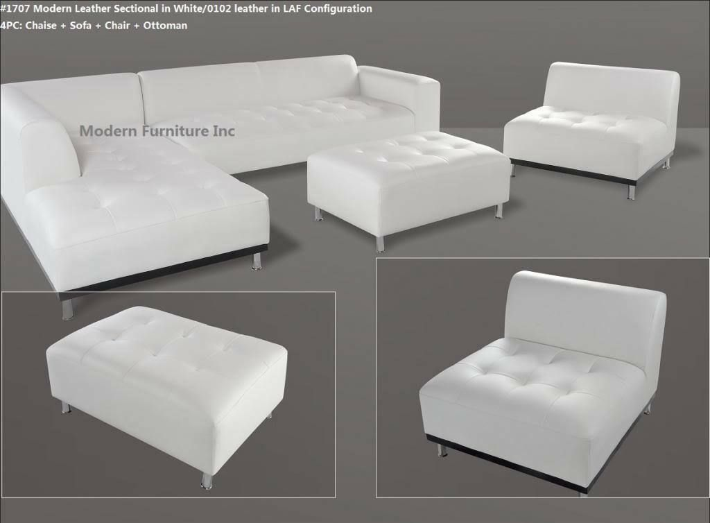 Modern Contemporary White Leather Sectional Sofa Chaise Chair 3 Pieces Set 1707 Sofa Set Ideas Of So Sofa Set Leather Sectional Sofa White Sofas