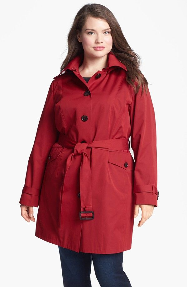 748d916d396a6 Belted Trench with Detachable Liner (Plus Size)
