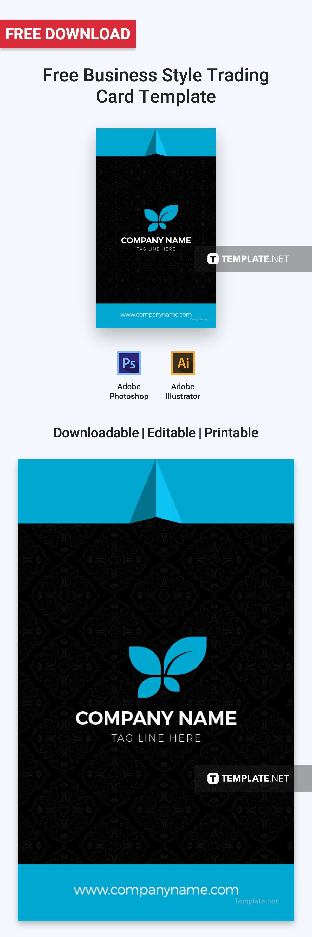 Business style trading card template free pdf word