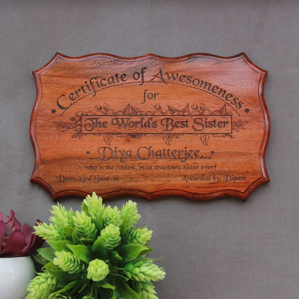 wooden certificate of awesomeness for world s best sister fun