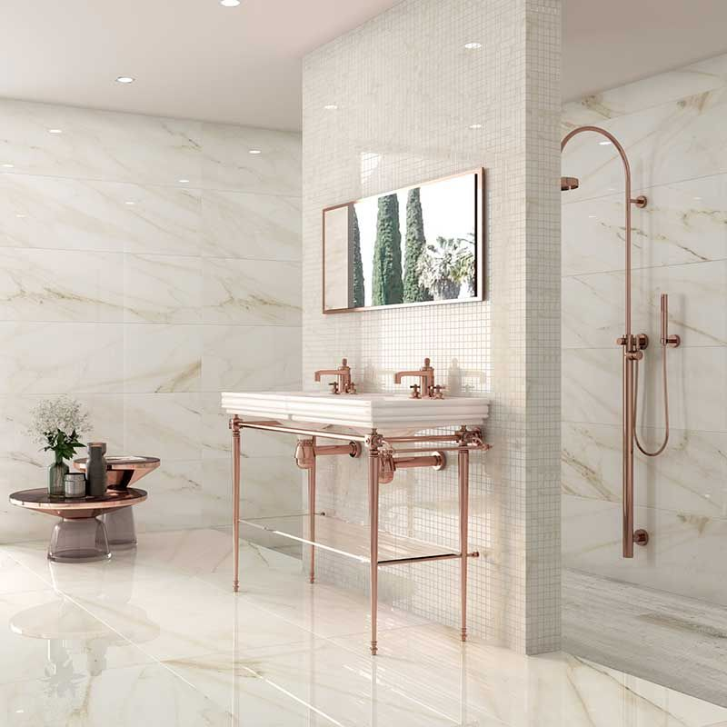 Trapani Gold Marble Effect Porcelain Tiles From Alistair Mackintosh Porcelain Tile Bathroom Marble Effect Marble Porcelain Tile