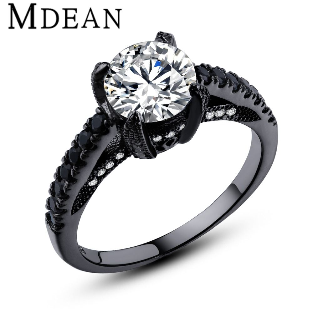 Mdean wedding ring black color oro diamante della cz dei monili anelli di fidanzamento bague per le donne dell'annata bijoux accessori msr336