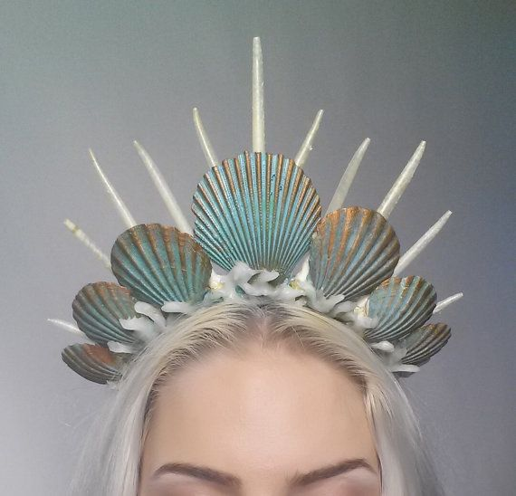 Items similar to mermaid crown tiara headdress turquoise on Etsy