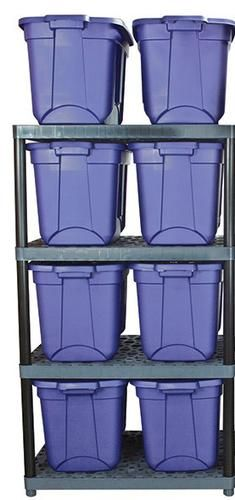 Menards $45 4 Shelf Ventilated Interlocking With Long Poles. 17.25  between shelves for 18gal Rubbermaid totes. & Menards $45 4 Shelf Ventilated Interlocking With Long Poles. 17.25 ...