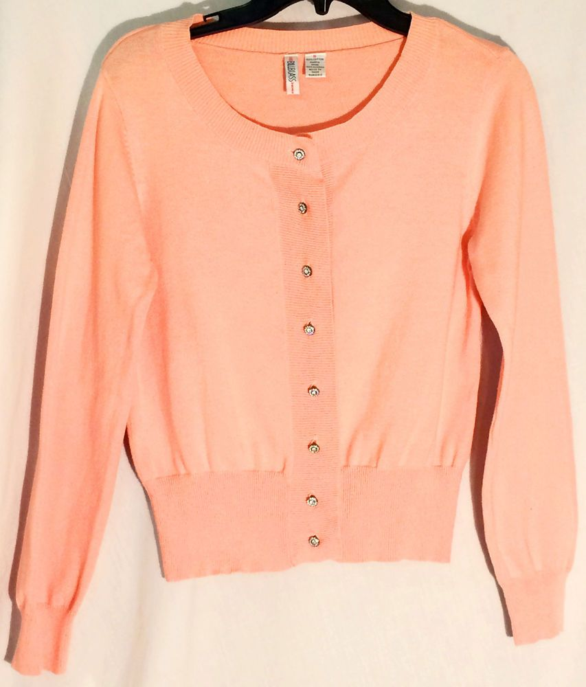 BILL BLASS 100% Cotton Cardigan/Sweater - Pinky Orange ...