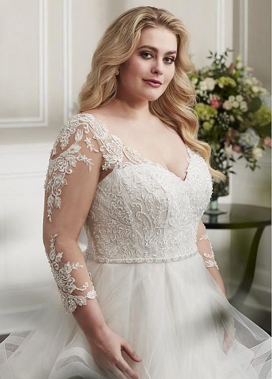 Magbridal Glamorous Tulle V Neck Neckline A Line Plus Size Wedding
