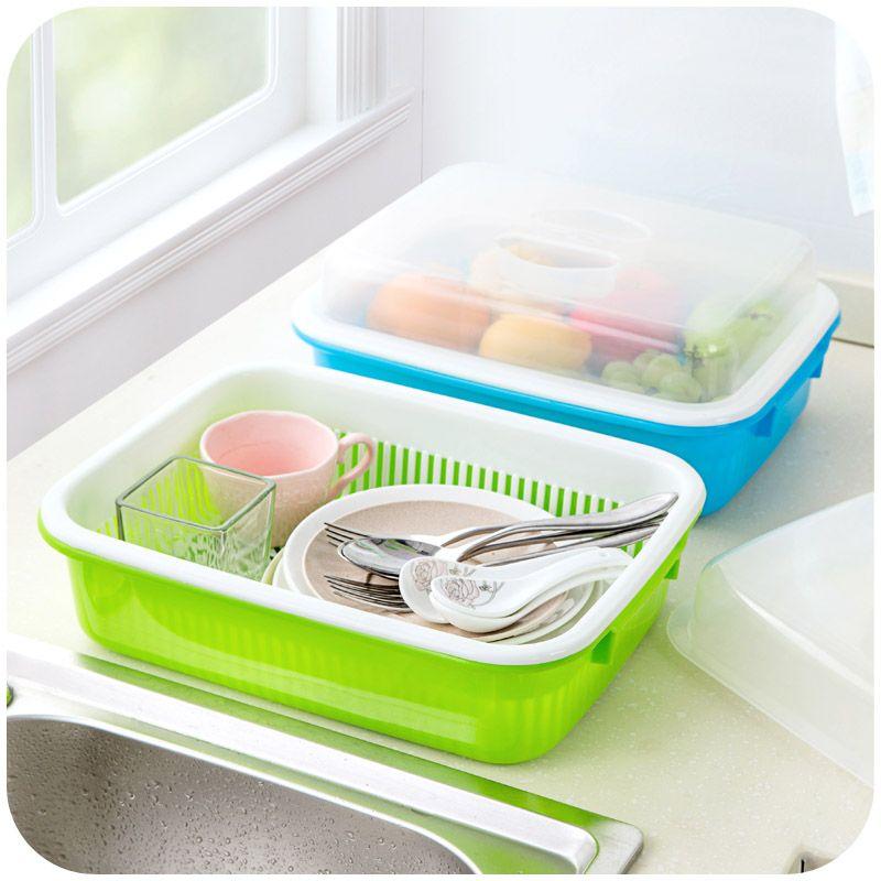 居家家带透明盖厨房碗碟餐具沥水收纳盒塑料蔬菜水果收纳柜碗柜 Fruit And Vegetable Storage Plastic Fruit Crockery