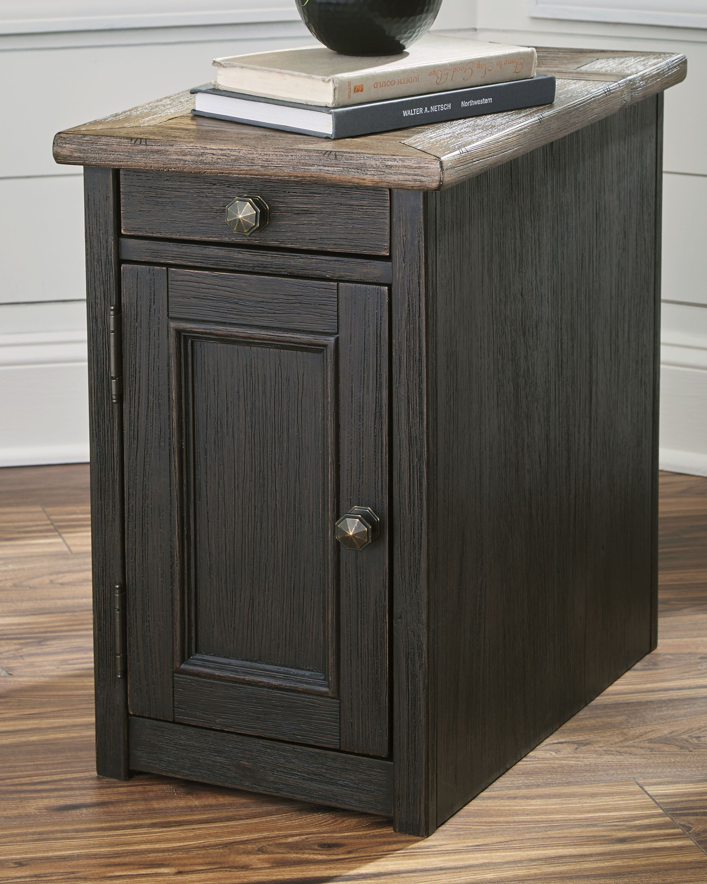 Tyler Creek Chairside End Table With Usb Ports Outlets Grayish Brown Black