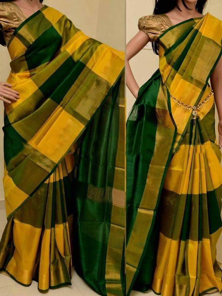 2a1ce7fab3a740 Dark green and yellow uppada big checks sarees