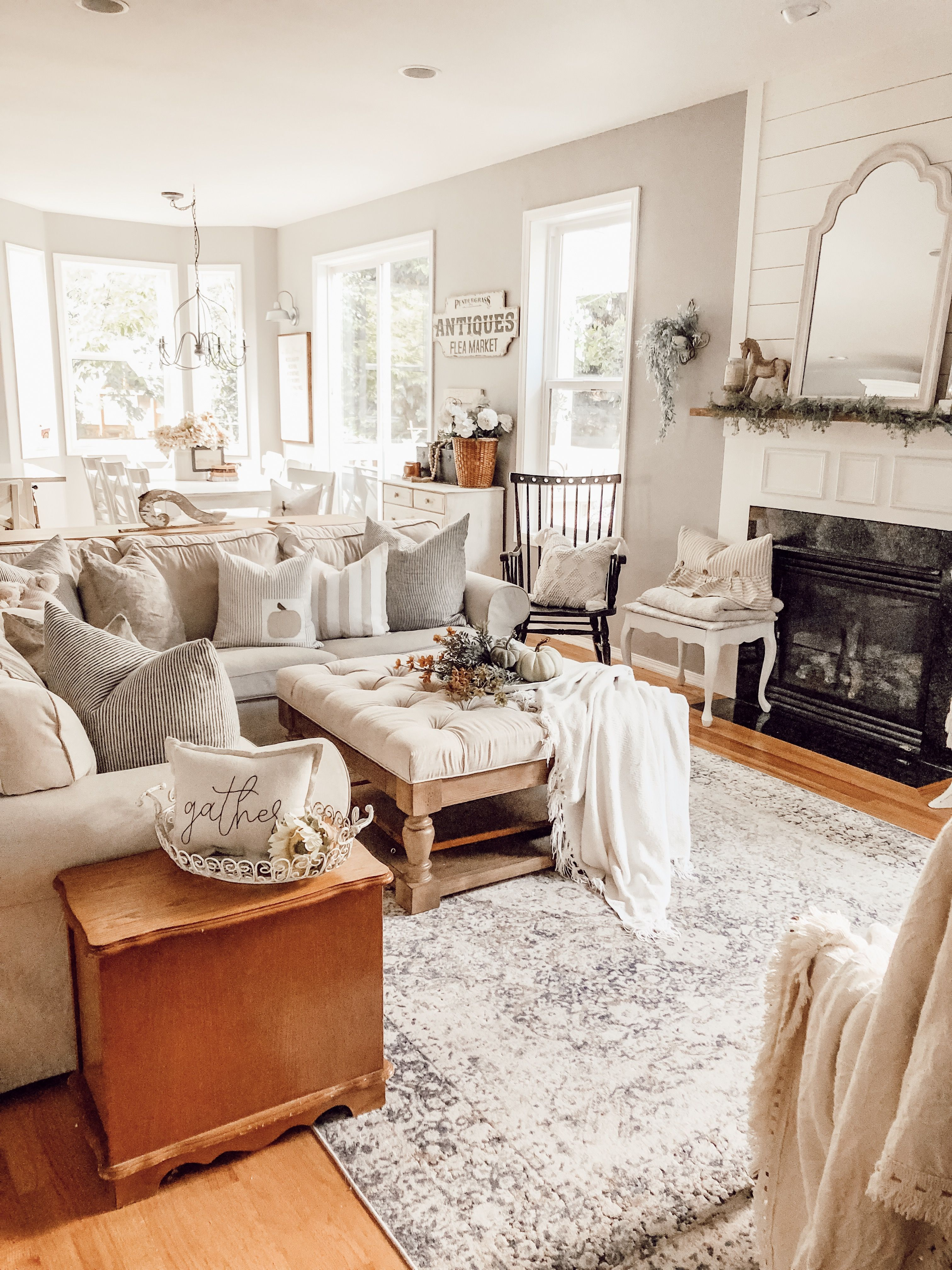 A neutral cozy cottage farmhouse fall home tour
