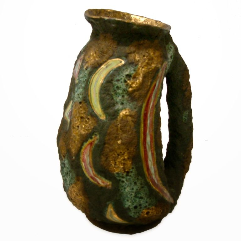 Italo Casini Lava Glaze Ceramic Ewer  A tall sculptural vase by Fidas of Deruta, Italy in high glaze with a contorted abstract form. The work has a beautiful multicolored drip like glaze and is signed on the base.