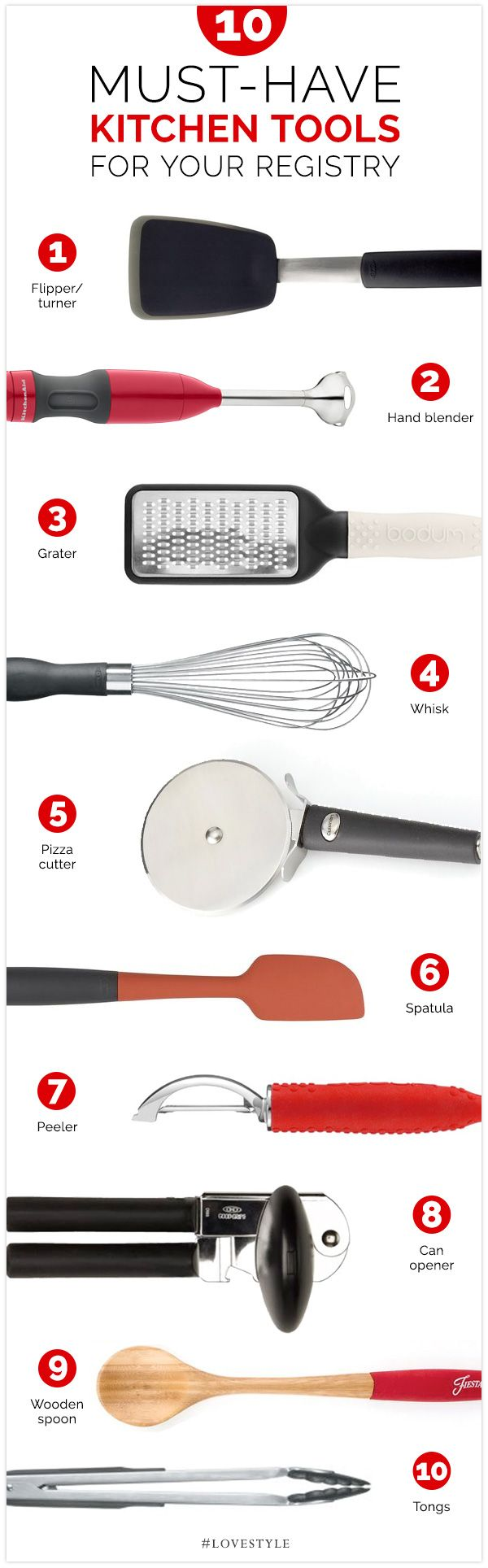 Kitchen Tools List 10 must-have kitchen tools for your registry | weddings, kitchens