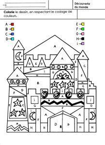 Coloriage Chateau Gs.Les Rois Coloriage En Respectant Un Codage Karty Pracy Coloriage