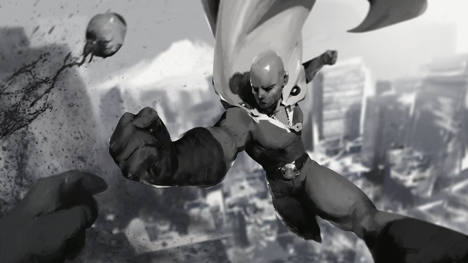 Cool Saitama 3D E Punch Man HD Wallpaper
