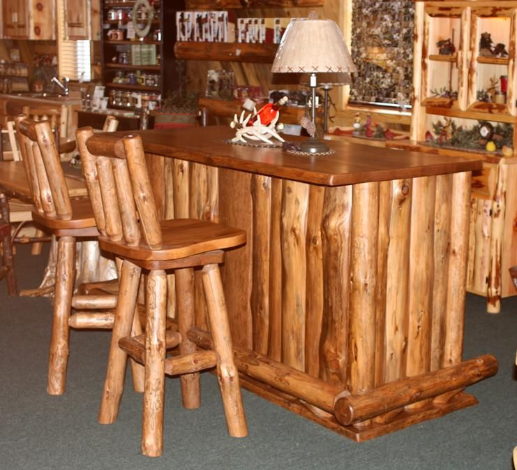 Amish Rustic Pine Bar Stool With Swivel