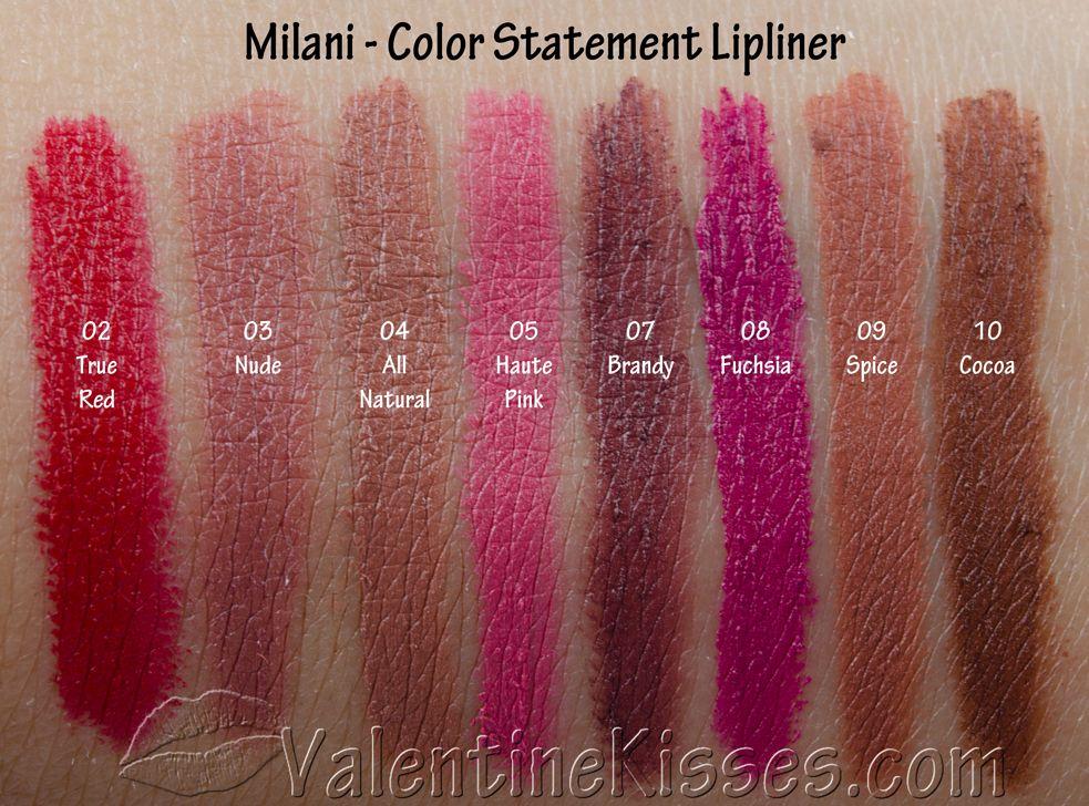 Valentine Kisses Milani Color Statement Lipliner All 8 Shades