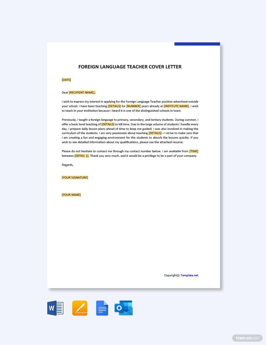 Free foreign language teacher cover letter template word